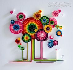 Quilling arte Quilling parete arte arte Quilling Paper quilling Art Lollipop foresta Handmade Decor Design regalo opera d