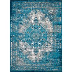 Nourison Aria Teal (Blue) 5 ft. x 7 ft. Area Rug