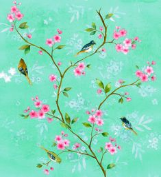 Birds on a floral branch - mila-loveology.com