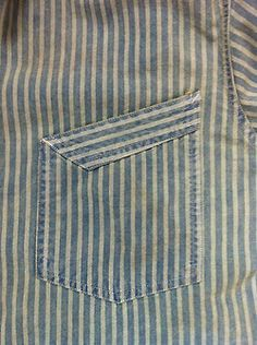 My Double RL railroad stripe shirt pocket detail Techniques Couture, Sewing Techniques, Couture Details, Fashion Details, Textile Manipulation, Sewing Pockets, Herren Outfit, Camisa Polo, Men Design