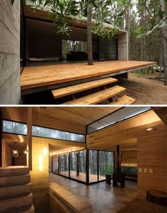 modern wood patio design concrete cabin - might work downscaled Cabins In The Woods, House In The Woods, Concrete Stairs, Deck Stairs, Garden Stairs, Concrete Houses, Concrete Wood, Wood Stairs, Casas Containers