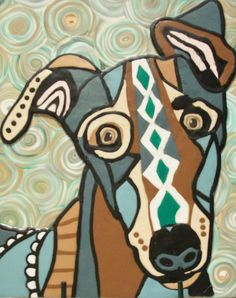 Polymer Clay Greyhound by got-clay, via Flickr  Inspired by art print by Heather Galler - used with her permission.