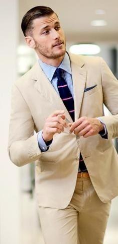 A #Khaki #suit is perfect for Spring/Summer. www.LuxuryItalianNeckties.com #ties #neckties #suits #SuitandTie #SuitsandTies #MensFashion #MensStyle