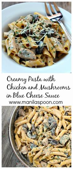 2 Chicken breasts. 1 (8 oz pack Baby portabella mushrooms. 3 Garlic cloves. 1 Onion. 12 oz Penne pasta. 1 Salt and pepper. 1 tbsp Olive oil plus. 2 tbsp Butter. 1 1/2 cups Half and half or whole milk. 2 tbsp Parmesan cheese plus. 1/2 Up to 3/4 cup crumbled blue cheese. 2 teaspoons dried Parsley or 2 Tablespoons fresh, chopped.