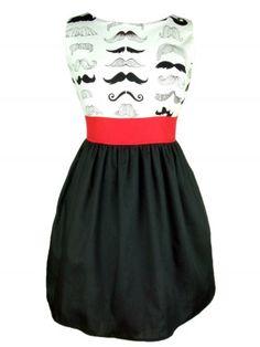 """Women's """"Head Over Wheels Mustache"""" Dress by Hemet"""