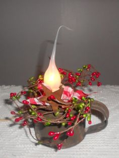 Christmas primitive decor antique tin mug w/ c'try candle lamp red& green pips.  This gives me an idea for using the old cups I have.  Love it!