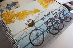 scrapbook, traveling, photography, purple pineapple design, handmade, illustration, stationary, album de fotos