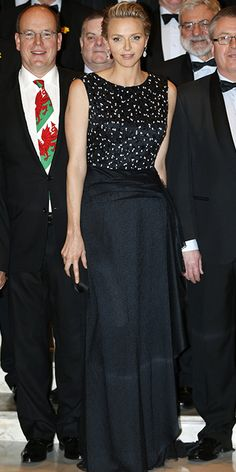 Prince Albert and Princess Charlene, in Dior F13, attended the St. David's day gala on the 1st of March, 2014, at the Hotel De Paris in Monte Carlo