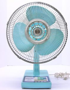 """vintage.blue.fan #retro #vintage #fan.  Standing in front of these saying, """"I am your father.""""  And yes I am a geek."""