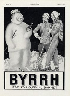 Byrrh 1931 Skiing, Winter Sports, Snowman, Georges Léonnec