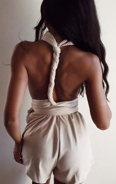 #spring #outfits Beige Suede Wrap Playsuit