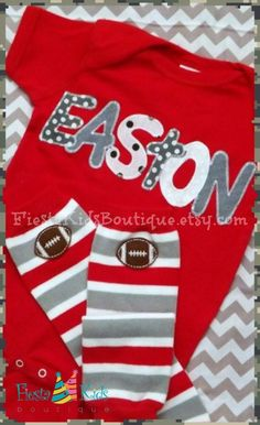 Personalized baby outfit and leg warmers with football applique, by FiestaKidsBoutique