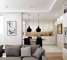 BORA KOMOROWSKIEGO - Duży salon z bibiloteczką z kuchnią z jadalnią, styl nowoczesny - zdjęcie od KAEEL.GROUP | ARCHITEKCI