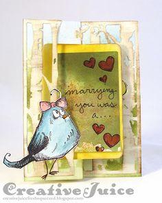 Lisa Hoel – anniversary card, Karen Burniston's Rectangle Pull Card die and Tim Holtz's bird crazy stamps - outside; Nov 2015  #timholtz #karenburniston
