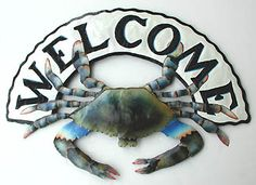 Blue Crab Welcome Sign Beach Decor | Nautical Decor | Tropical Decor | Coastal Decor