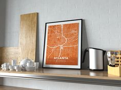 Now available in our store: Premium Map Poste... Check it out here! http://shop.mapprints.co/products/premium-map-poster-of-atlanta-georgia-modern-burnt-unframed-atlanta-map-art?utm_campaign=social_autopilot&utm_source=pin&utm_medium=pin