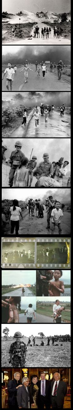 Bottom photo: Vietnam War survivor Kim Phuc Phan Thi (2nd L) with photojournalists David Burnett (L), Nick Ut (2nd L), Perry Kretz (R) and journalist Christopher Wain (2nd R). On June 8, 1972 Ut took the iconic photograph of Kim Phuc running down a road after being burned in a napalm bomb attack near Trang Bang. Burnett was also there and Wain poured water over Kim Phuc's burns and took her to a hospital. Kretz accompanied Kim Phuc to Germany for her final surgery to treat her burns.