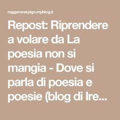 Repost: Riprendere a volare da La poesia non si mangia - Dove si parla di poesia e poesie (blog di Irene Marchi) | Ruggero Respigo - MilanoRuggero Respigo – Milano