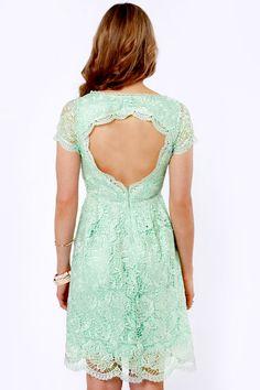 Pretty Mint Dress - Lace Dress - Backless Dress - $69.00