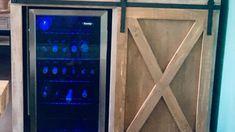 Barn Door Cabinet with Mini Fridge and Microwave Barn Door Cabinet, Barn Door Console, Cabinet Plans, Trim Board, Half Doors, Diy Barn Door Hardware, Upstairs Loft, Aging Wood, Mini Fridge