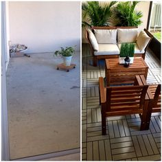 With RUNNEN decking, and a few APPLARO patio pieces, Sarah and Anthony have a new space to relax and entertain guests. | IKEA Share Space