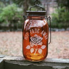 Grateful Dead Lantern Not Fade Away Etched on a by ScarletBGonias