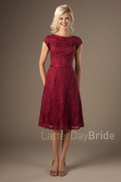 modest bridesmaid dresses with bateau neckline and lace, knee length Betty at LatterDayBride