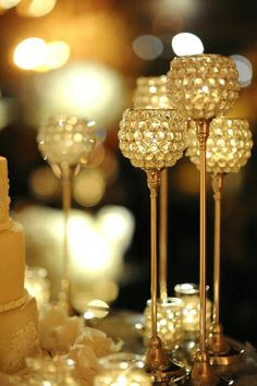 """gold-candle-holders- great for gold or 50th themed events.    """"Like"""" us at www.facebook.com/JusGorjusEvents"""
