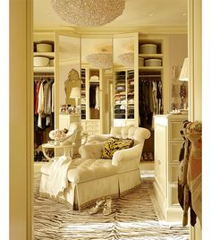Fabulous and glamorous closet - dressing room. Nice to have the three way mirror when getting ready. I love the zebra print carpet, chaise lounge and light fixture. Nicely done. Zillow Digs, Home, House Styles, Closet Bedroom, House Design, Sweet Home, Dream Dressing Room, Interior Design, Room