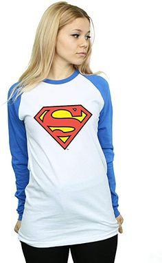 374ac80091338 DC Comics Women s Superman Logo Long Sleeved Baseball Shirt XX-Large White   Royal Blue at Amazon Women s Clothing store