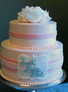 Adorable cake for a pink baby shower {Photo by Nathan Stuart, Cake by Frills Cake Shop}