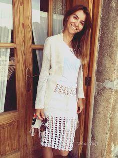 Hand crocheted skirt from merino wool