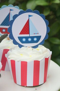 Nautical Birthday Party Scallop Cupcake Toppers Set of 12 Birthday Themes For Boys, Baby Boy Birthday, 1st Birthday Parties, Sailor Baby Showers, Navy Baby Showers, Nautical Birthday Cakes, Nautical Party, Baby Showers Marinero, Baby Shower Themes