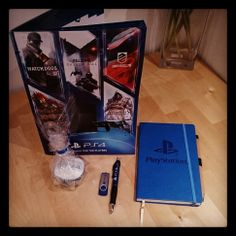 Custom pen, branded notebook and promotional flash drive by #SONY #PS4 #Swag
