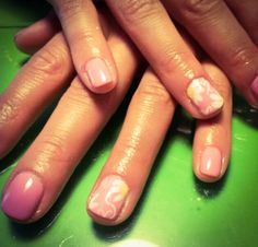 nails, pink, flowers, white