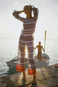 Verushka on the pier in stripes, 1965