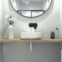 What an amazing pair this Contura tapware and Tribute basin have made in this bathroom! We're also loving that timber. Bathroom Goals, Bathroom Inspo, Master Bathroom, Bathroom Accessories, Basin, House Design, High Contrast, Interior Design, Mirror