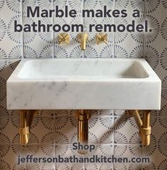 Work with Jill Jefferson, bathroom consultant, to get the right marble look in your bathroom. Jefferson Bath and Kitchen has been working with top-of-the-line Stone Forest natural stone sinks and tubs for years. Roman Bathroom, Bathroom Floor Tiles, Bathroom Renos, Bathroom Fixtures, Small Bathroom, Art Deco Bathroom, Modern Bathroom Design, Bathroom Ideas, Upstairs Bathrooms