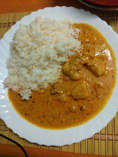 Aloo dahi gravy with steamed rice