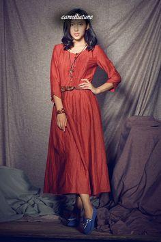 Red Linen Dress / Linen Winter Dress / Formal Dress Gown - Custom made. $78.00, via Etsy.