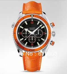 2013 brand new automatic watch two tone mens watches chronograph sport watches orange strap  $48.00