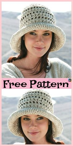 15 Amazing Crocheted Sun Hat Free Patterns The project we will be showing you for this post is this wonderful crocheted sun hat! It is very beautiful, and it is quite simple to crochet. Crochet Beanie Hat, Knit Or Crochet, Cute Crochet, Crochet Crafts, Crochet Stitches, Knitted Hats, Crochet Patterns, Crotchet, Crochet Ideas