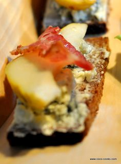 Honey, Pear, Blue Cheese, and Bacon Crostini