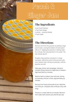 A delicious sweet with heat jam. Full recipe and directions included. Citrus Trees, Fruit Trees, Trees To Plant, Ginger Jam, Fresh Ginger, Tasty, Yummy Food, Jam Recipes, Farmers Market