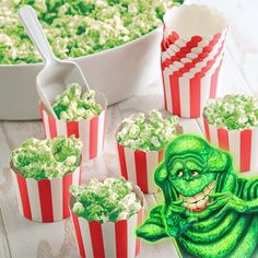 Spooky Slimer Popcorn Treats: Lime-flavored glazed popcorn makes a sweet crunchy treat for special occasions or snacks