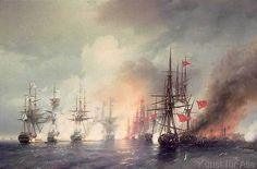 Ivan Konstantinovich Aivazovsky - Russian-Turkish Sea Battle of Sinop on 18th November 1853, 1853