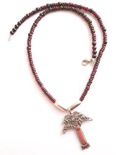 Tree of Life necklace on granates Jewish jewelry boho design