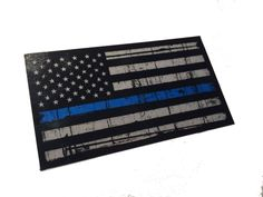 Tattered Police Officer Thin Blue Line reflective American Flag Decal Sticker