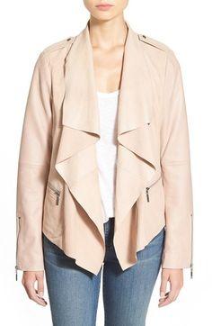 Bernardo Drape Front Suede & Leather Jacket