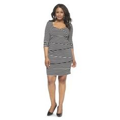 Women's Plus Size 3/4 Sleeve Tiered Dress Black/White